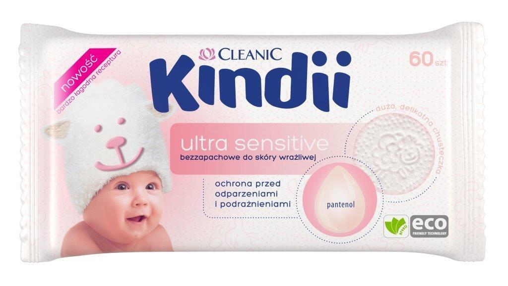 Kindii Ultra Sensitive_chusteczki nawilżane bezzapachowe do skóry wrażliwej